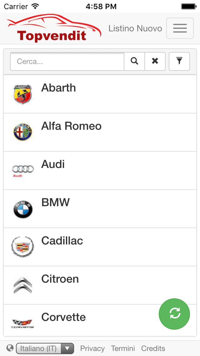 app ios android crm automotive listino nuovo