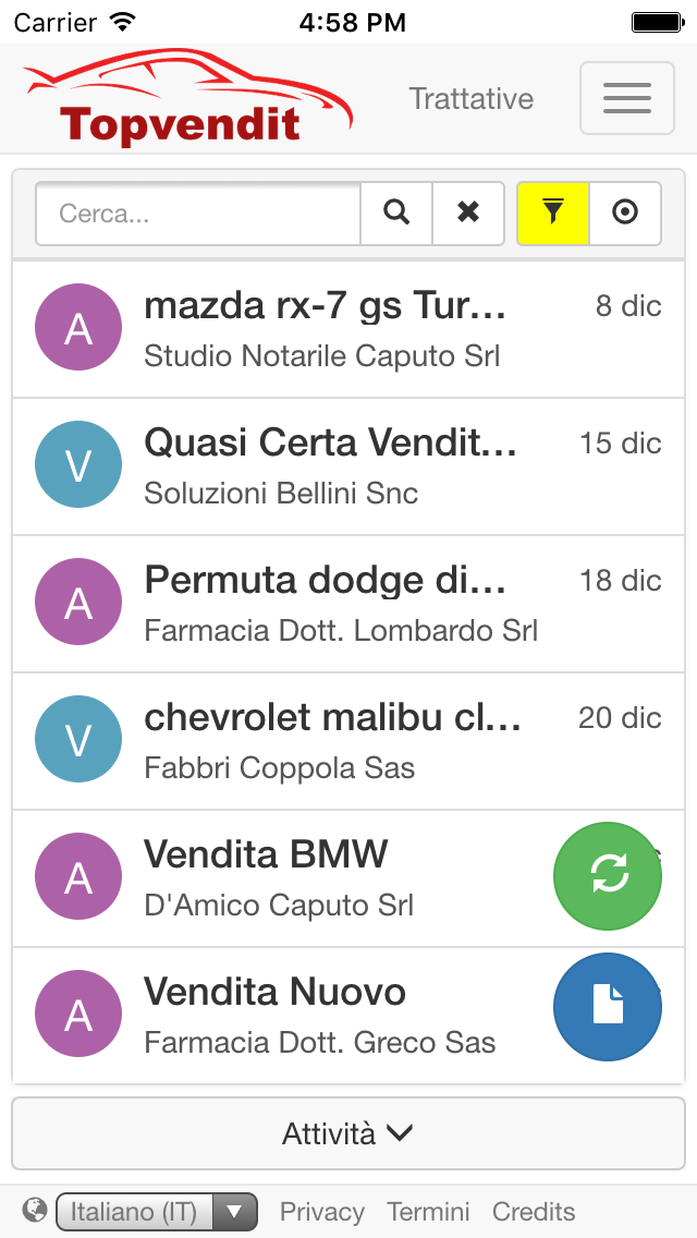 app ios android crm automotive trattative